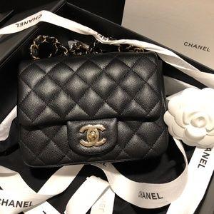 CHANEL Classic Mini Caviar Square Flap Bag gold